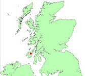 Map showing position of tidal array in Scottish waters