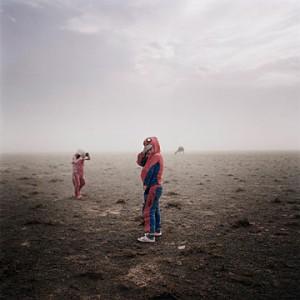 Michele Palazzi's winning photo of children in the Gobi desert