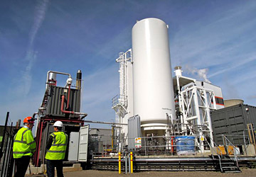 Highview Power Storage's pilot liquid air plant hosted at SSE's (Scottish and Southern Energy) 80MW Biomass plant on the Slough trading estate