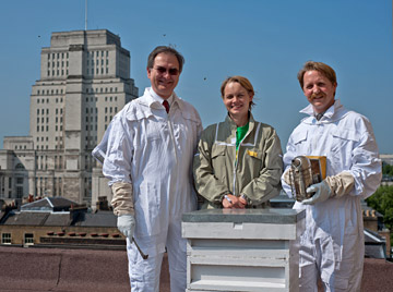 Beekeepers on the roof of the University of London, with Senate House in the background. The black dots are not dirt on the picture, but bees flying around! Photo: James Berry