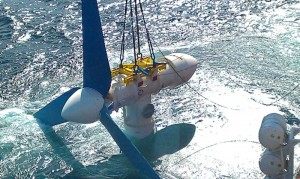 Atlantis AR 1000 tidal turbine being deployed at EMEC in the Orkneys
