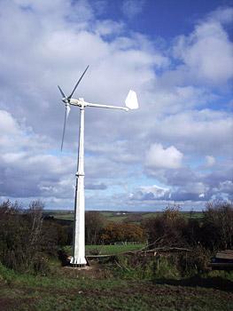 The farm's 5KW wind turbine