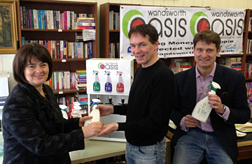 Jane Ellison MP, Enda Muldoon, volunteer at Wandsworth Oasis and Mark Jankovich, chief executive at Delphi Eco who make the Eco Turtle and green cleaning products