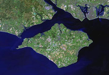 The Isle of Wight from space in a NASA satellite photo