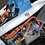 The engine of a Formula E electric car