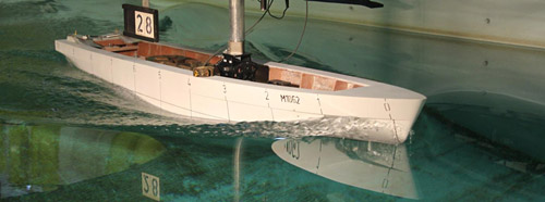 The B9 Hull design being tested in Southampton University test tank