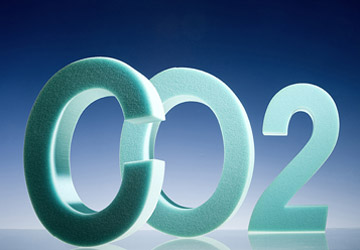 Polyeurethane foam spelling out C02. Photo: Bayer