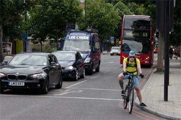 Major roads often do not have cycle lanes. Photo by Julian Jackson