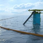 Illustration of what the ocean cleanup machine will look like