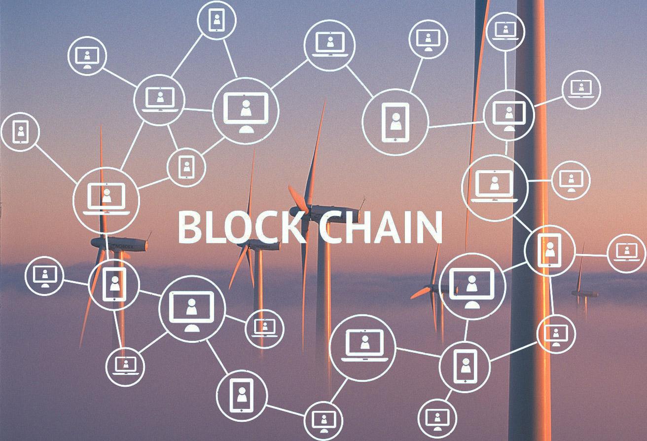 blockchain diagram and windfarm